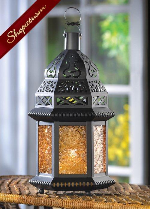24 Wholesale Wedding Moroccan Yellow Amber Candle Lanterns