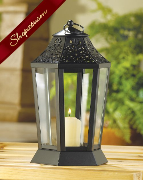 60 Black Midnight Garden Centerpiece Candle Lantern Hurricane Style Lamp