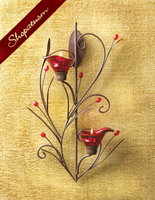 Ruby Red Blossom Tealight Wall Sconce Candle Holder
