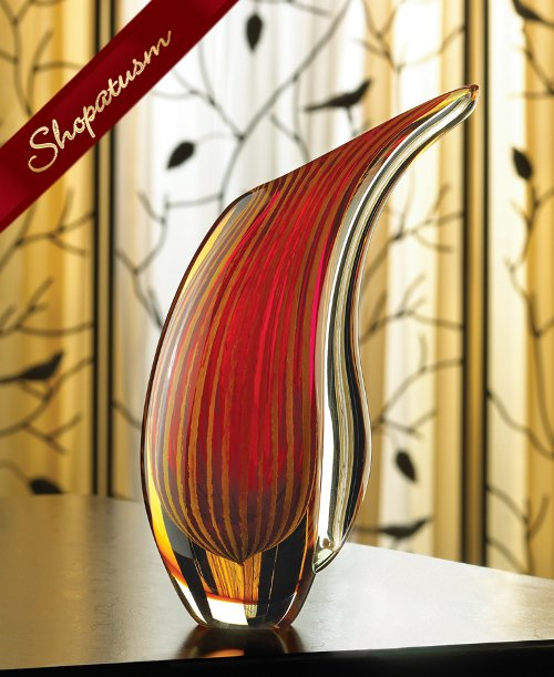 Art Glass Vase Crimson Sunset Hand Crafted Centerpiece