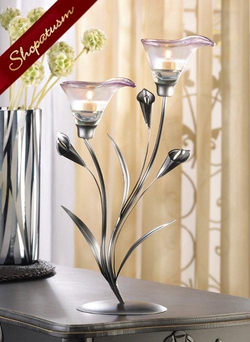 24 Pink Calla Lily Centerpiece Pewter Tealight Candleholder Elegant