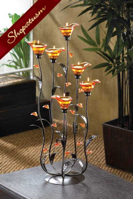 60 Calla Lily Wedding Centerpieces Candelabras Amber Large Candle Holders