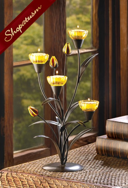 48 Candelabra Centerpieces Yellow Candle Holders Tiger Lily