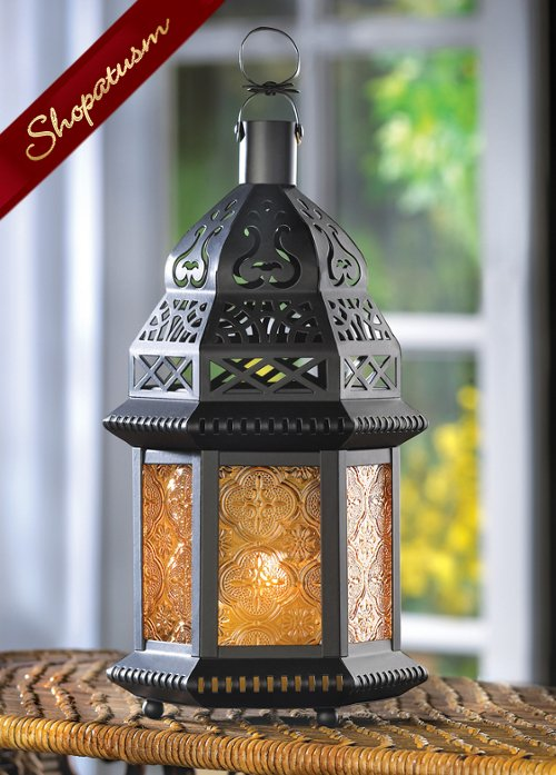 Moroccan Yellow Amber Wedding Candle Lantern Centerpiece