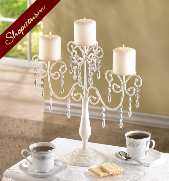 Ivory Crystal Bead Candelabra Candle Holder Table Centerpiece