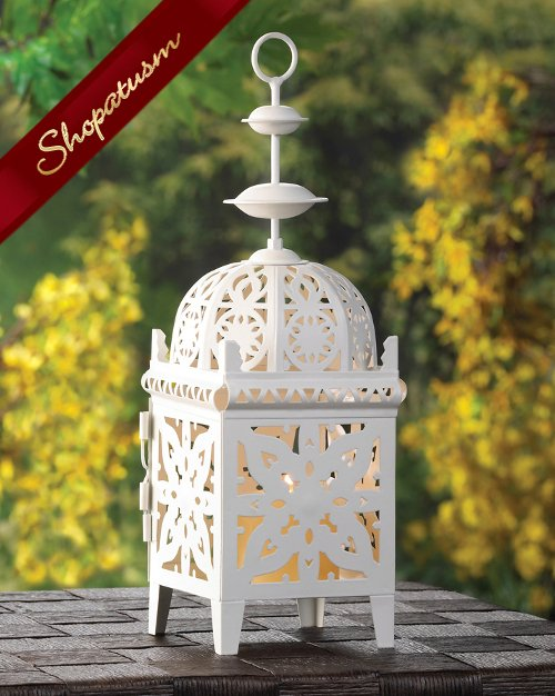 12 Ornate Candle Lantern Creamy White Moroccan Medallion