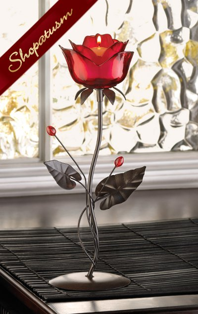 Romantic Red Rose Votive Candle Holder Centerpiece