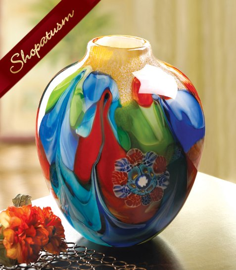 Floral Fantasia Art Glass Hand Crafted Jug Vase