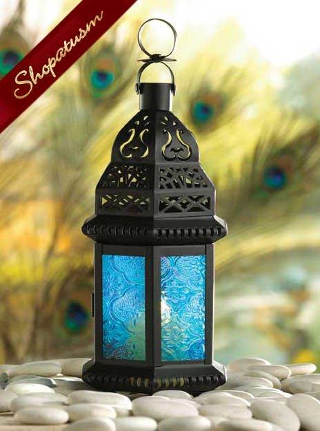 Cobalt Blue Glass Moroccan Metal Candle Lantern Centerpiece