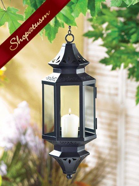 Exotic Hanging Moroccan Pierced-Metal Pendant Lamp Lantern