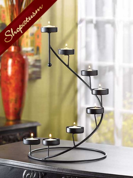 Thumbnail of 20 Dramatic Black Candle Holder Spiral Stair Centerpieces