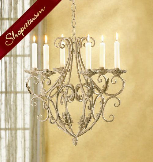 Tuscan Design Wrought Iron Candle Holder Chandelier