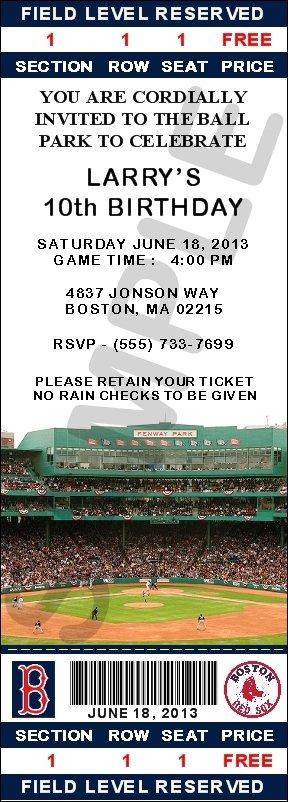 Boston Red Sox Ticket Invitations - Fenway