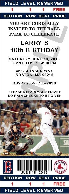 Boston Red Sox Ticket Invitations - Ortiz