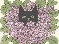 Black Cat in the Violets Cross Stitch Pattern