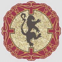 Rampant Lion Crest Cross Stitch Pattern