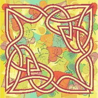 Autumn Leaves Celtic Knot Cross Stitch Pattern