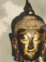Asian Mask Buddha Head Cross Stitch Pattern