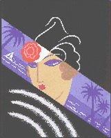 Erte Art Deco Woman Tropical Cross Stitch Pattern
