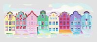 Colorful Village Street Cross Stitch Pattern