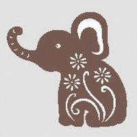 Lucky Flowered Elephant Cross Stitch Pattern