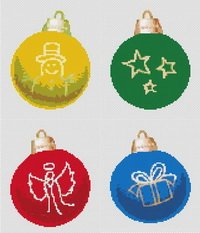 Christmas Tree Ornaments Cross Stitch Pattern
