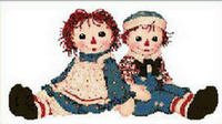 Raggedy Ann and Andy Cross Stitch Pattern Chart