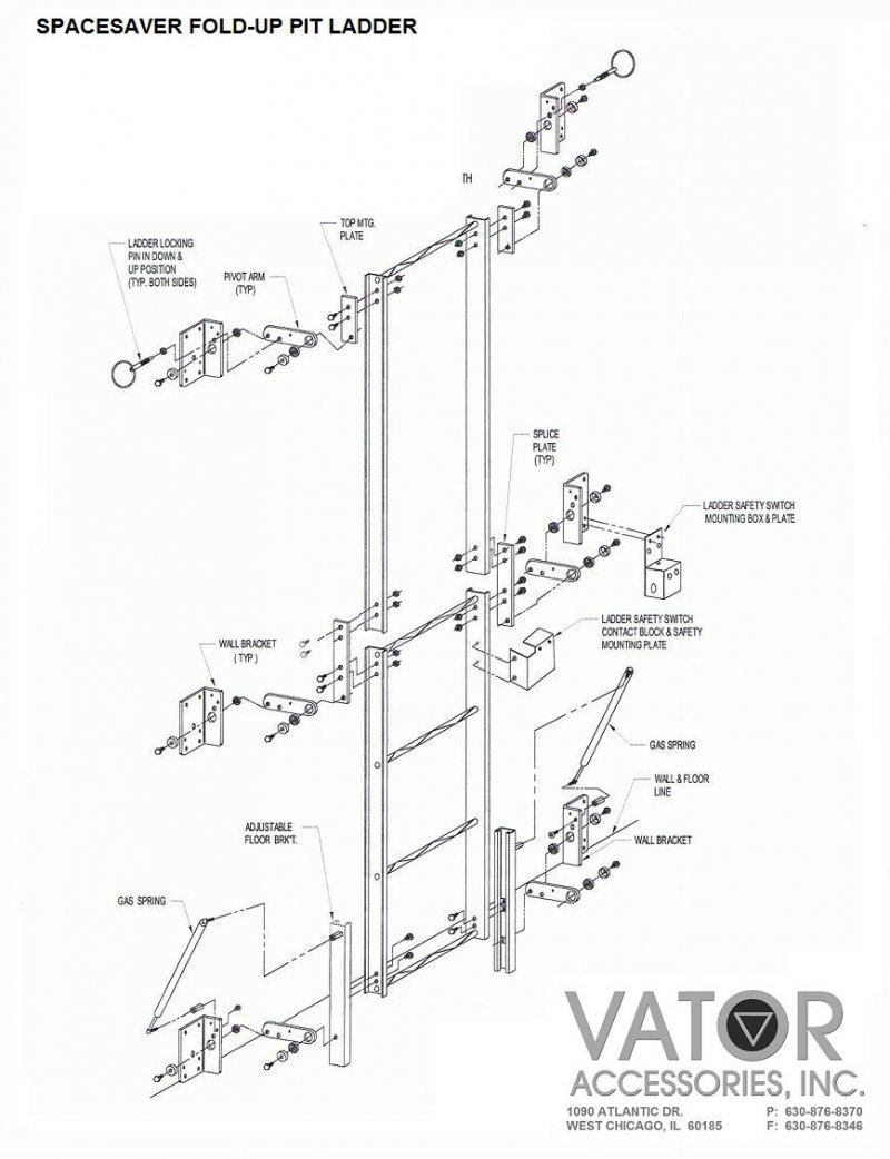 Pit ladders spacesaver fold up ladders plf spacesaver fold up dual locking pins hold the ladder securely in place when folded up handle on right aids in lowering and lifting the ladder ccuart Gallery