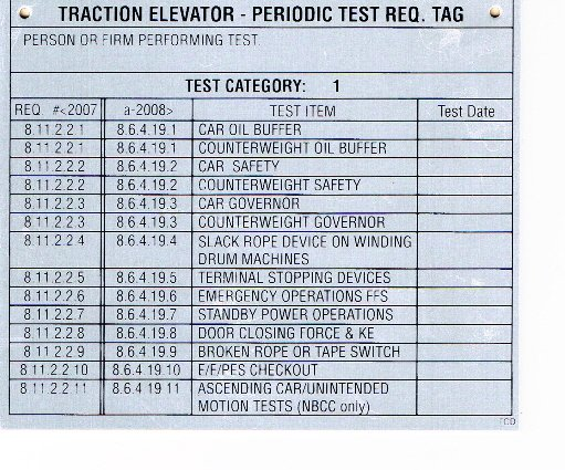 Image 0 of DT-TRACTIONC1 TRACTION ELEVATOR CATEGORY 1 TEST TAG