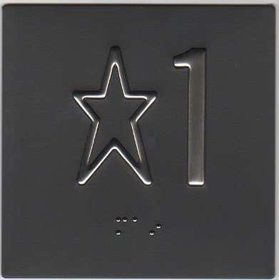 Image 0 of BP442 - Black Background/Stainless Character 4'' x 4'' Braille Plate