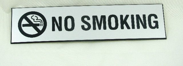 Image 0 of NS-82-SS No Smoking Sign 8''W x 2''H Stainless Steel Look Plastic