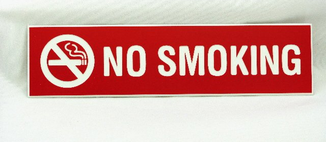 NS-82-RED No Smoking Sign 8''W x 2''H Red Plastic