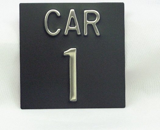 Image 0 of CAR44 Elevator Identification Plate 4 x 4 Black Background/Stainless Character