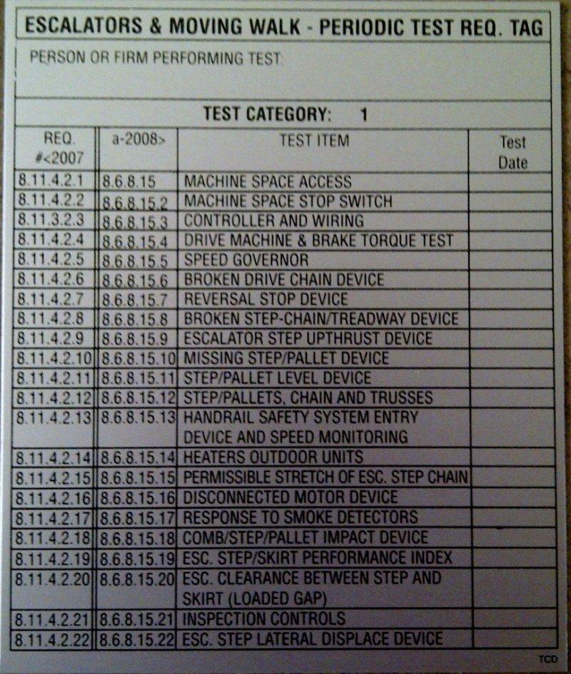DT-ESC1 ESCALATOR CATEGORY 1 TEST TAG