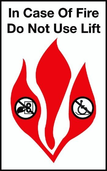 FSICF-58-X-LIFT IN CASE OF FIRE SIGN 5X8