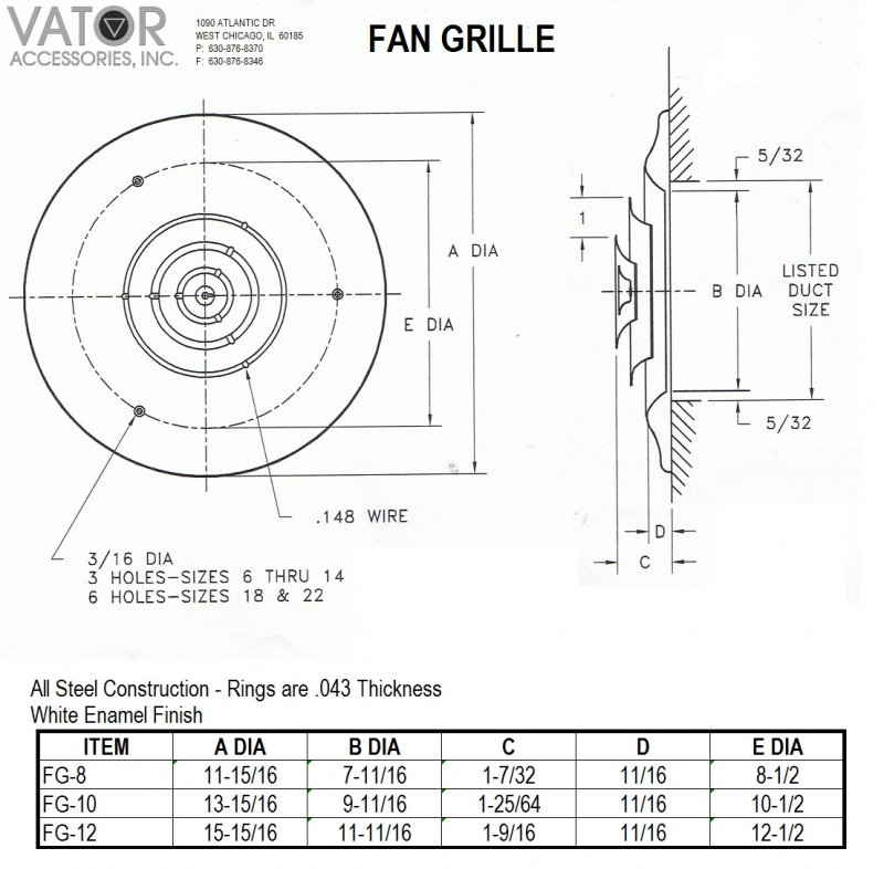 Image 1 of CLEARANCE FG-10 FAN GRILLE/ROUND CEILING DIFFUSER FOR 10 INCH OPENING