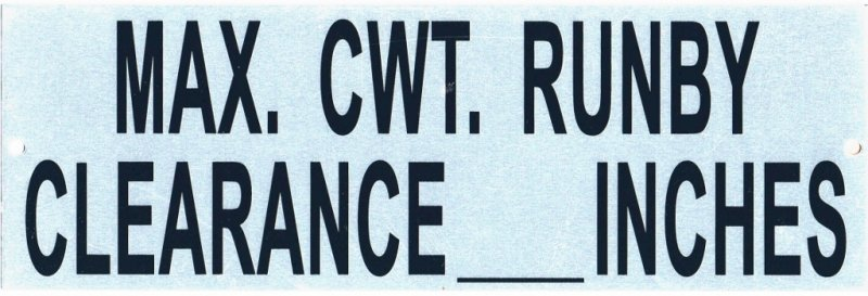 EMS-CWT-RNBY COUNTERWEIGHT RUNBY SIGN