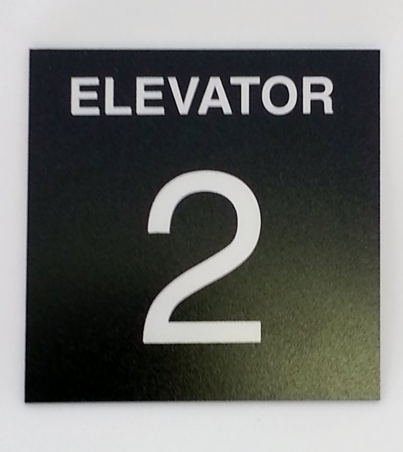 Image 0 of EIS - Elevator ID Sign, 4 x 4, Plastic Black Bkgd/White Charater