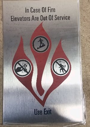 Image 0 of FSICF-58-H-SS IN CASE OF FIRE SIGN 5X8 Stainless Steel