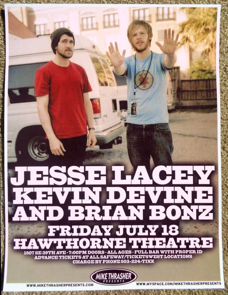 Image 0 of Lacey JESSE LACEY of BRAND NEW 2008 Gig POSTER Portland Oregon Concert