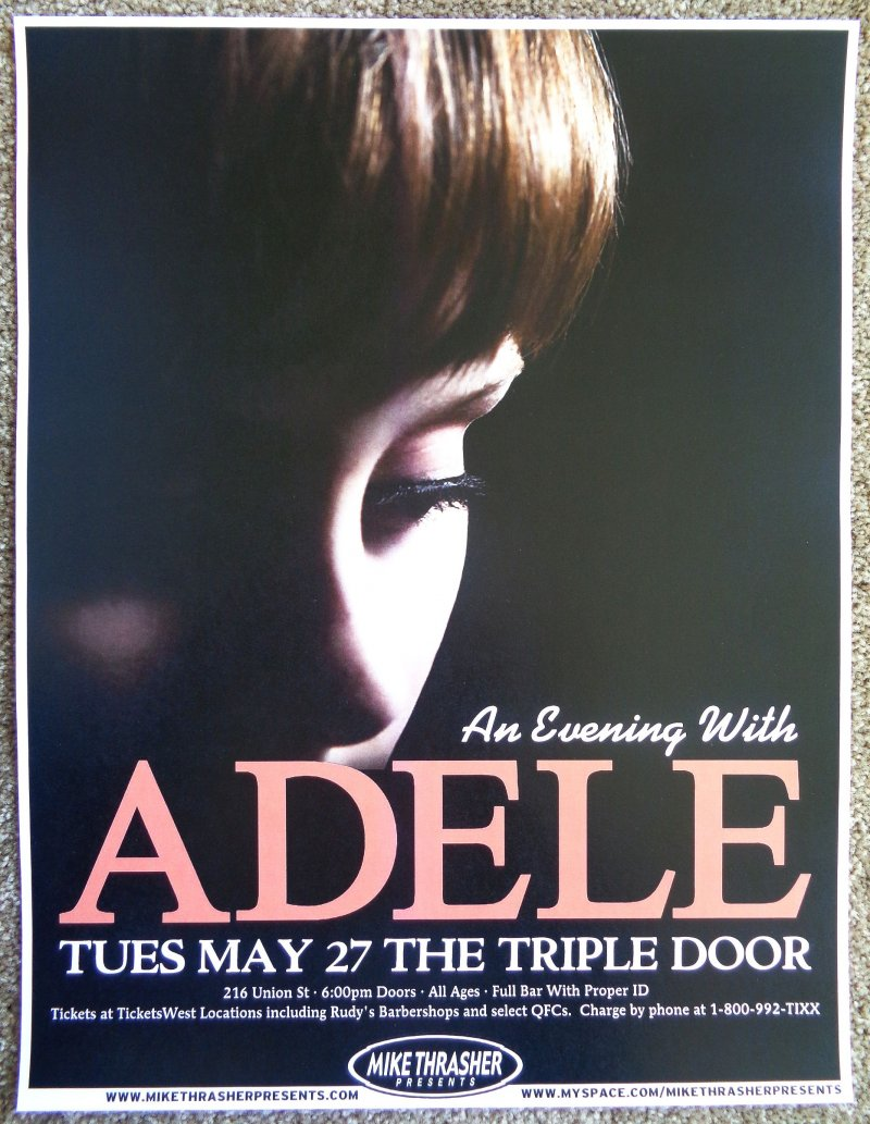 ADELE 2008 Gig POSTER Seattle Washington Concert Laurie Blue Adkins