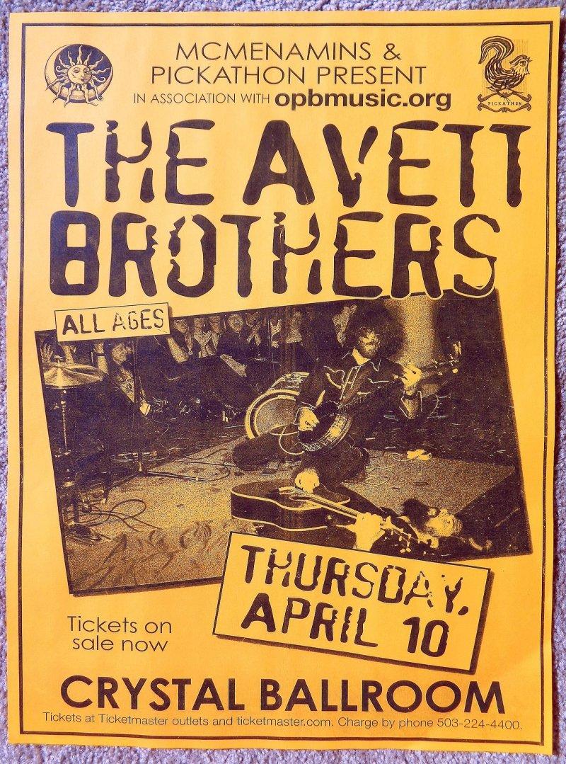 Image 0 of AVETT BROTHERS 2008 Gig POSTER Portland Oregon Concert