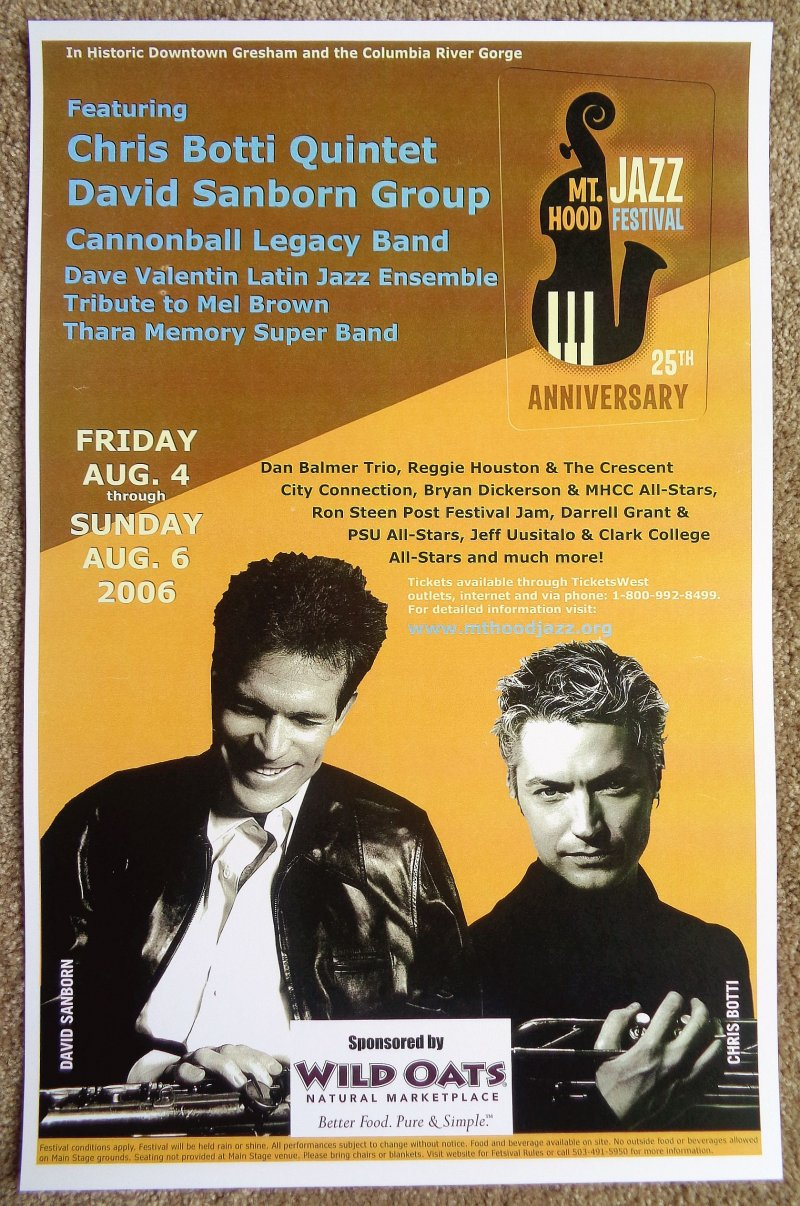 Botti CHRIS BOTTI & DAVID SANBORN 2006 Gig POSTER Gresham Oregon Concert
