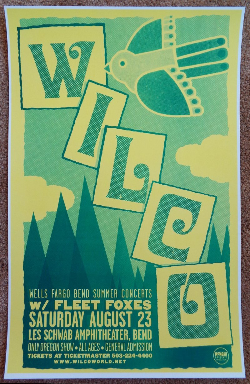 Image 0 of WILCO and FLEET FOXES 2008 Gig POSTER Bend Oregon Concert
