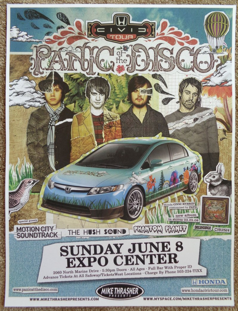 Image 0 of PANIC AT THE DISCO 2008 Gig POSTER Portland Oregon Concert