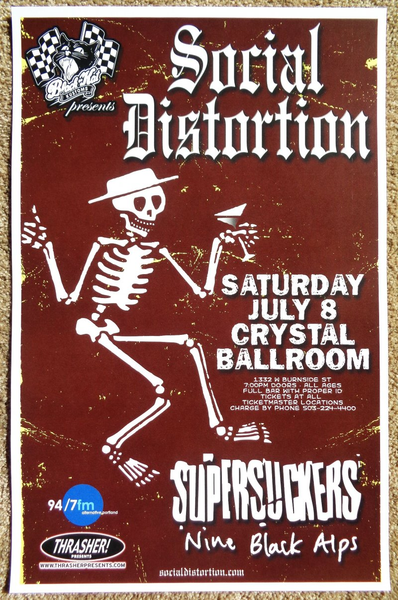 Image 0 of SOCIAL DISTORTION and SUPERSUCKERS Gig POSTER 7/08/2006 Portland Oregon Concert