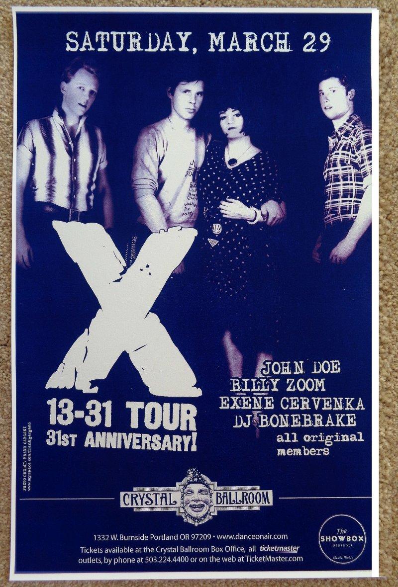Image 0 of X Band POSTER 31st Anniversary JOHN DOE / EXENE / BONEBRAKE Oregon 2008 Concert