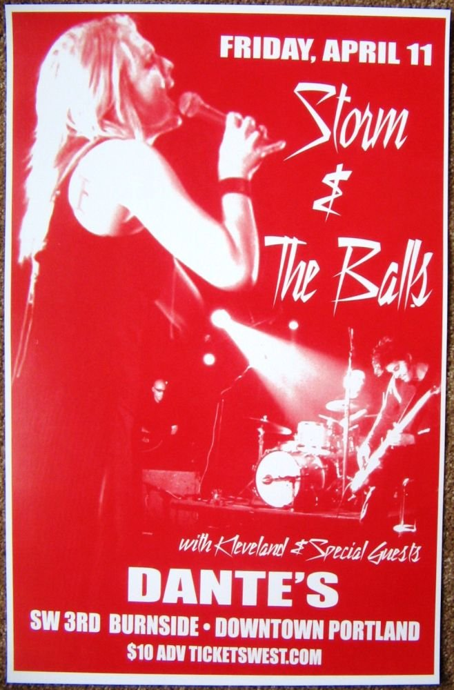 Image 0 of STORM LARGE & THE BALLS 2008 Gig POSTER Portland Oregon Concert