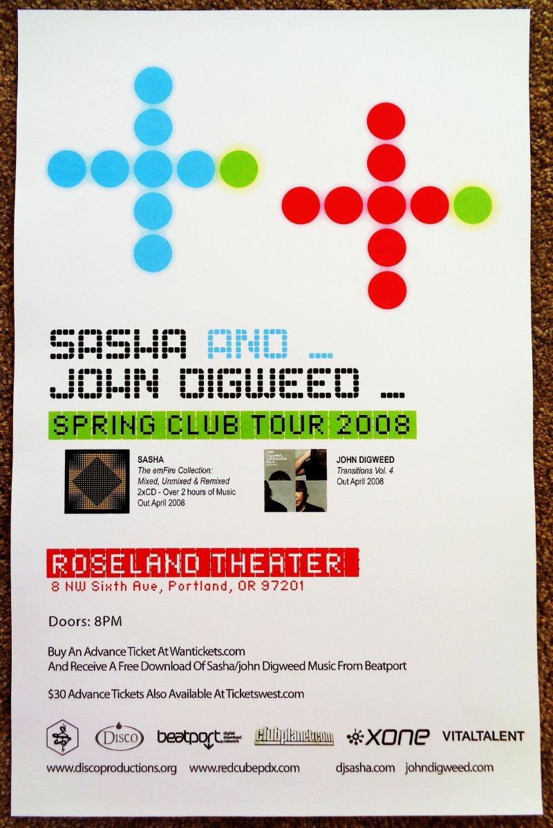 Image 0 of SASHA and JOHN DIGWEED 2008 Gig POSTER Portland Oregon Concert