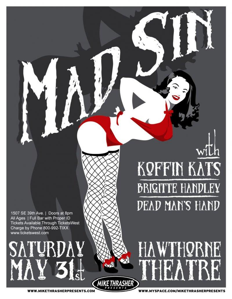 Image 0 of MAD SIN 2008 Gig POSTER Portland Oregon Concert